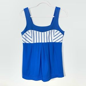Lululemon | Elevate Tank Blue White Stripe Size 10